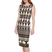 SL Fashions Sleeveless Tribal Print Midi Sheath Dress