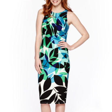 jcpenney.com | London Style Collection Sleeveless Leaf Print Midi Sheath Dress