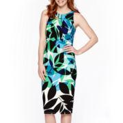 London Style Collection Sleeveless Leaf Print Midi Sheath Dress