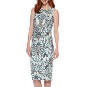 London Style Collection Sleeveless Paisley Sheath Dress