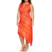 Bisou Bisou® Sleeveless Asymmetrical Crochet Maxi Dress - Plus