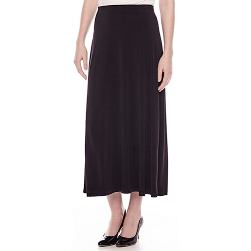 Black Label by Evan-Picone Solid Maxi Skirt