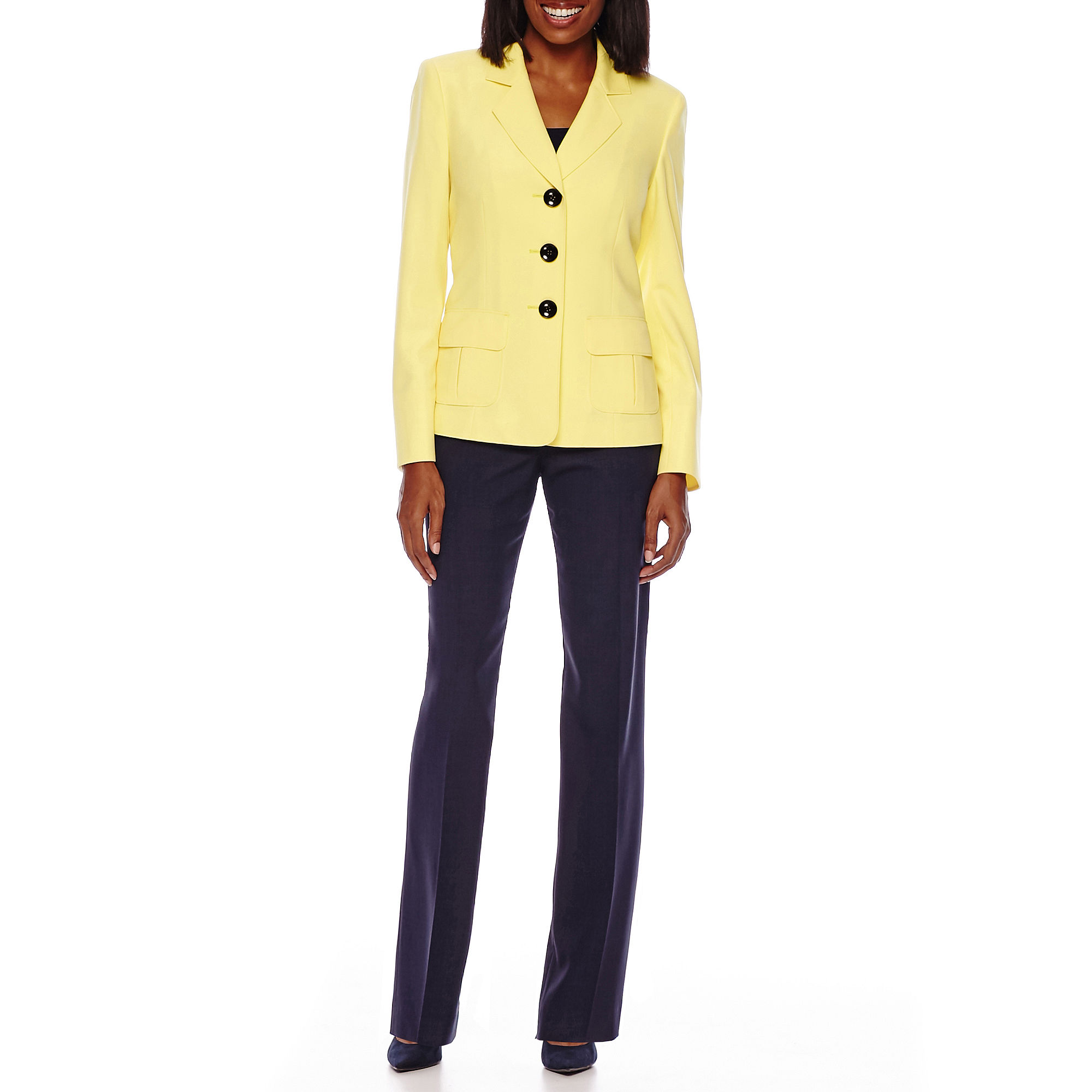 Le Suit Long-Sleeve Basket Weave Notch Collar Pant Suit plus size,  plus size fashion plus size appare
