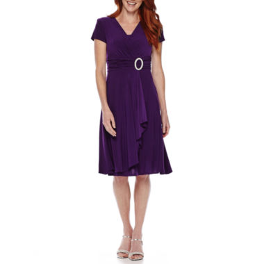 jcpenney.com | R&M Richards Short-Sleeve Ruched-Waist Dress