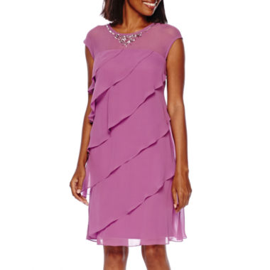 jcpenney.com | SL Fashions Beaded Neck Tiered Shift Dress