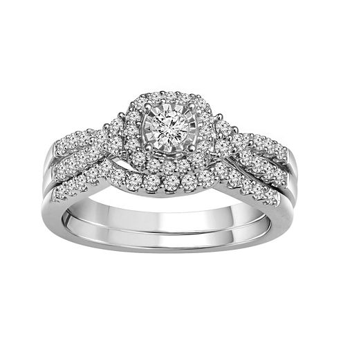 LIMITED QUANTITIES 1/2 CT. T.W. Diamond 10K White Gold Bridal Set