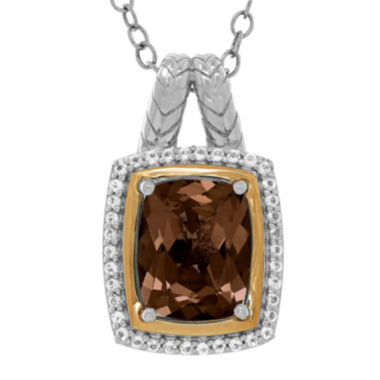 jcpenney.com | Genuine Smoky Quartz and White Topaz Two-Tone Pendant Necklace
