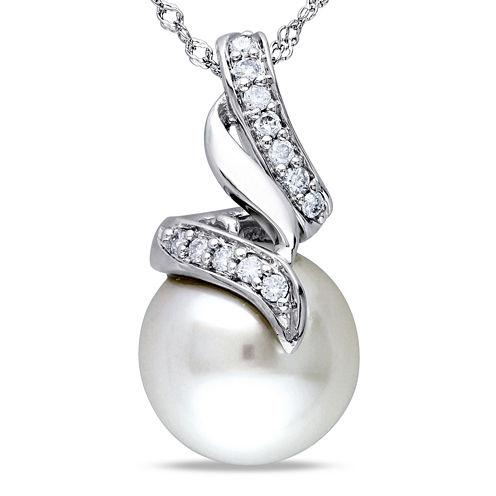 Genuine South Sea Pearl and 1/10 CT. T.W. Diamond Pendant