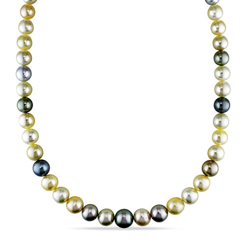 "9-12mm Genuine South Sea &Tahitian Pearl 18"" Strand Necklace"
