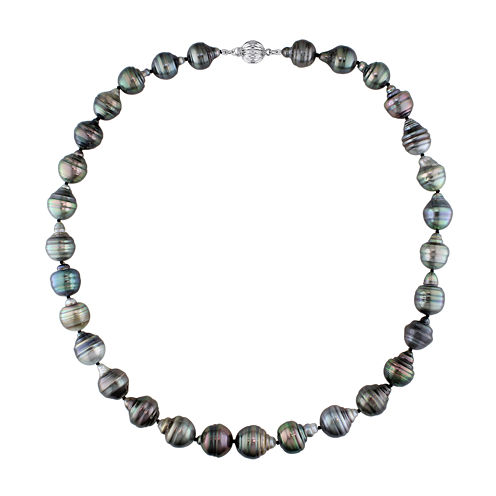 10-11mm Genuine Black Tahitian Pearl Necklace
