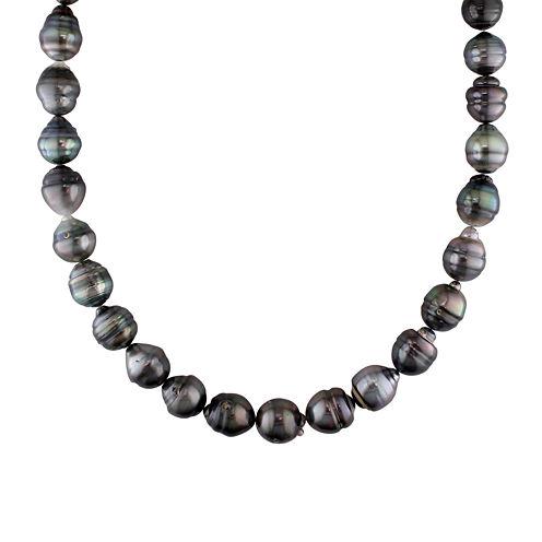 10-13mm Genuine Black Tahitian Pearl Necklace