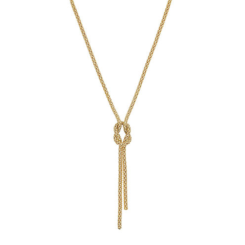Infinite Gold™ 14K Yellow Gold Hollow Knot Lariat Necklace
