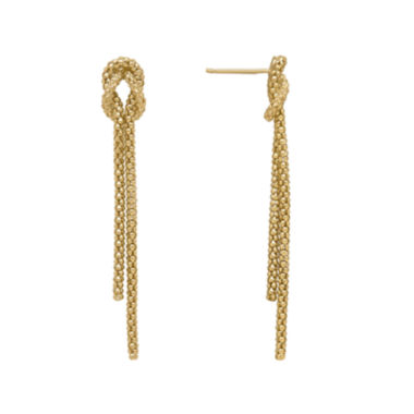 jcpenney.com | Infinite Gold™ 14K Yellow Gold Beaded Knot Double Strand Dangle Drop Earrings