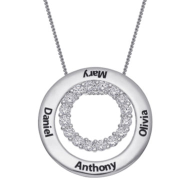 jcpenney.com | Personalized Sterling Silver Cubic Zirconia Two Nesting Disc Engraved Pendant Necklace