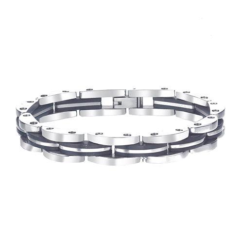 Mens Black IP Stainless Steel Chain Link Bracelet