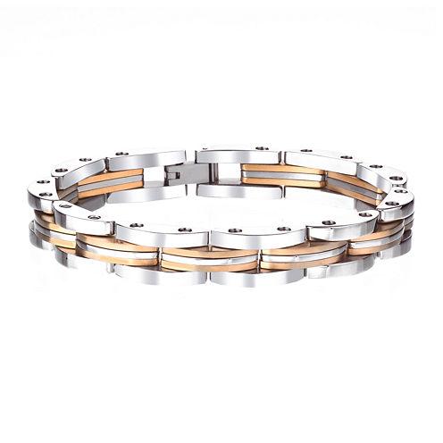 Mens Gold-Tone Stainless Steel Chain Bracelet