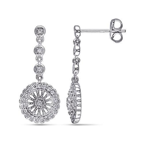 1/4 CT. T.W. Diamond Sterling Silver Drop Earrings