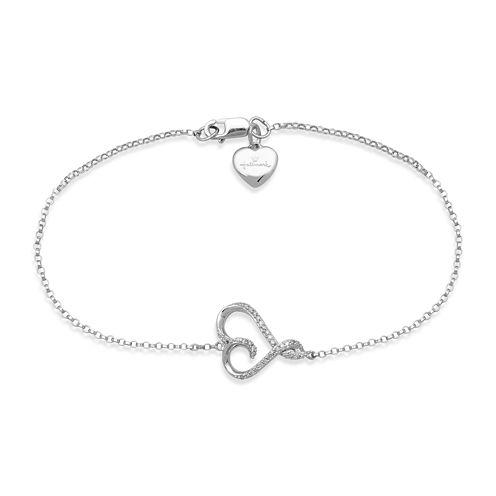 Hallmark Diamonds 1/10 CT. T.W. Diamond Sterling Silver Heart Bracelet