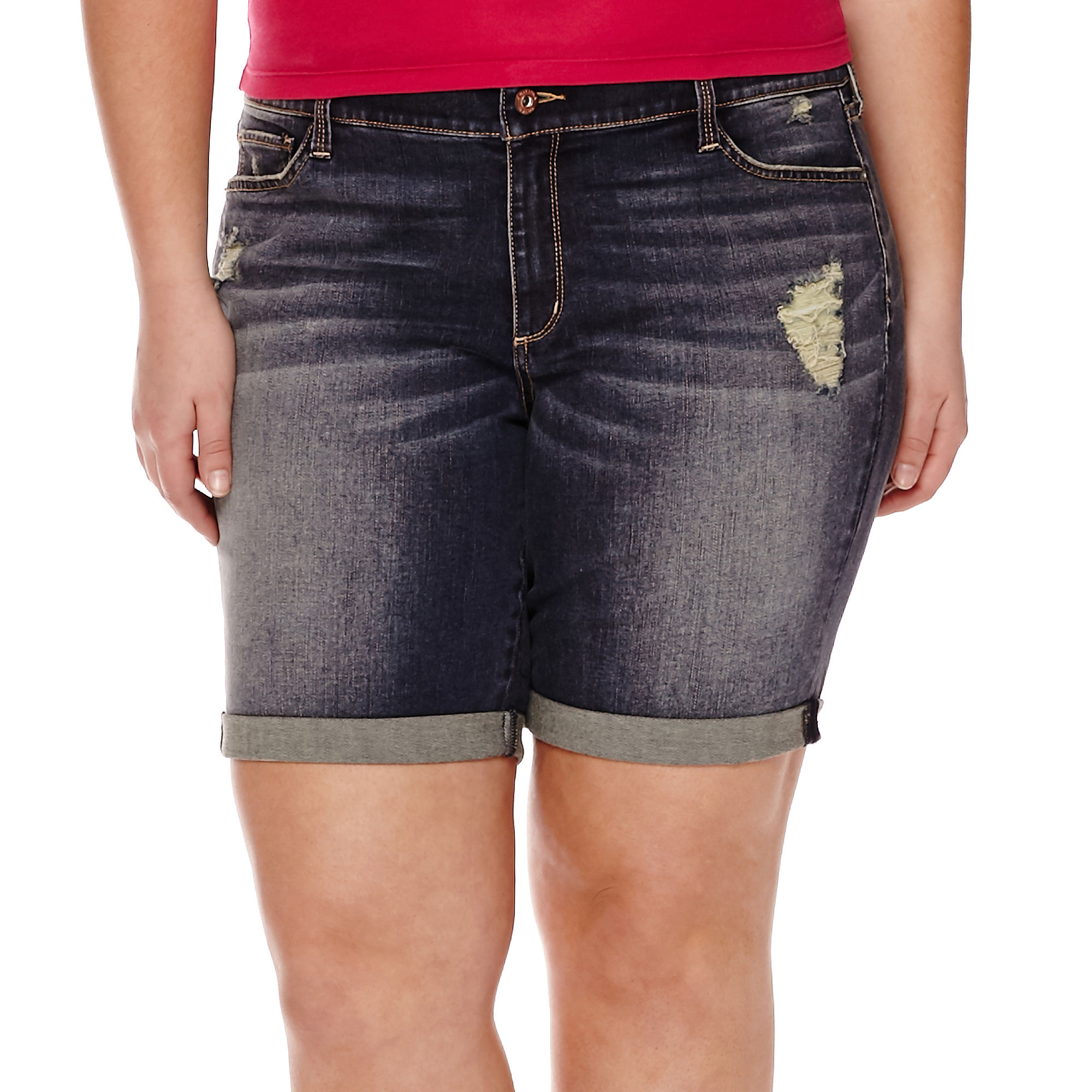 Arizona Destructed Roll-Cuff Bermuda Shorts - Juniors Plus plus size,  plus size fashion plus size appare
