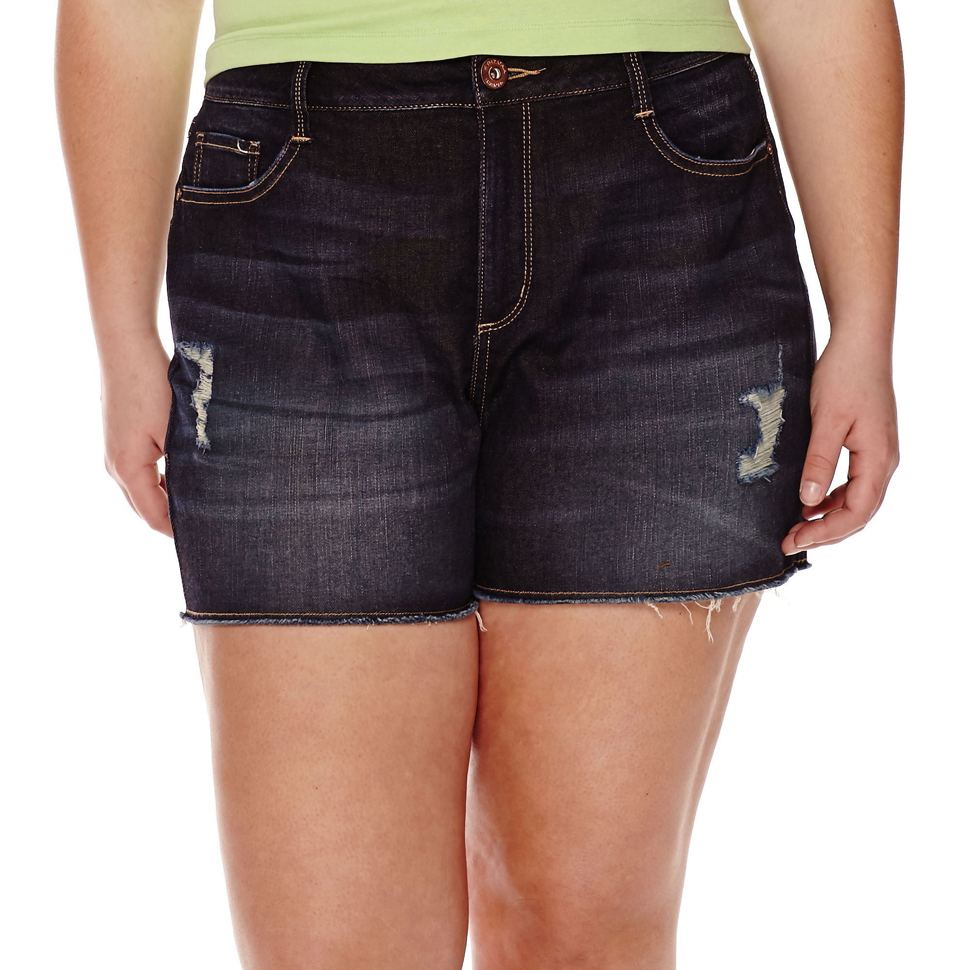 Arizona High-Rise Denim Shorts - Juniors Plus plus size,  plus size fashion plus size appare