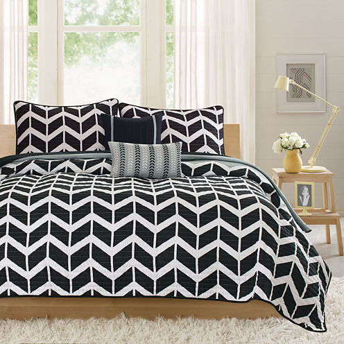 Intelligent Design Piper Chevron Coverlet Set
