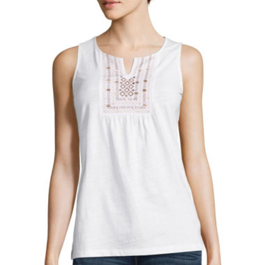 jcpenney.com | St. John's Bay® Short-Sleeve Embroidered Tank Top