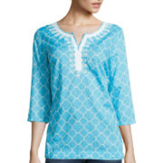 St. John's Bay® 3/4 Sleeve Embroidered Tunic - Tall
