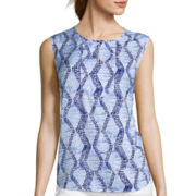 Liz Claiborne® Sleeveless Front-Inset Woven Top - Tall