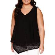 Alyx® Sleeveless Split-Front Layered-Look Top - Plus