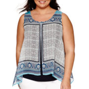 Alyx® Sleeveless Asymmetrical-Hem Scarf-Print Top - Plus