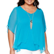 Alyx® Dolman-Sleeve Split-Front Top with Necklace - Plus