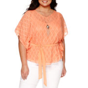 Alyx® Short-Sleeve V-Neck Top with Necklace - Plus