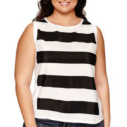 BELLE + SKY™ Stripe Mixed Media Tank Top - Plus