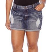 Boutique+ Destructed Denim Shorts - Plus