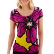 Worthington® Short-Sleeve Print Scoopneck Top