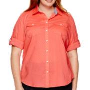 St. John's Bay® Roll-Sleeve Camp Shirt