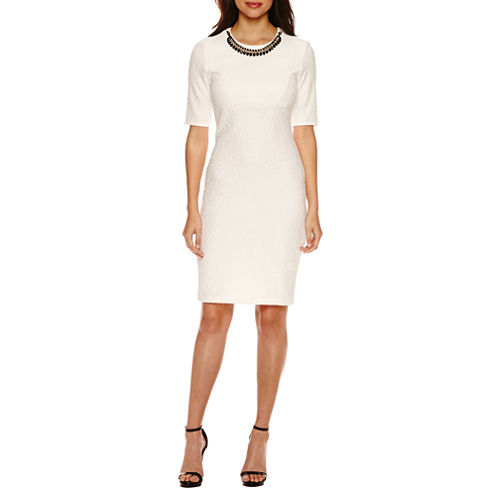 Bisou Bisou Elbow Sleeve Textured Sheath Dress