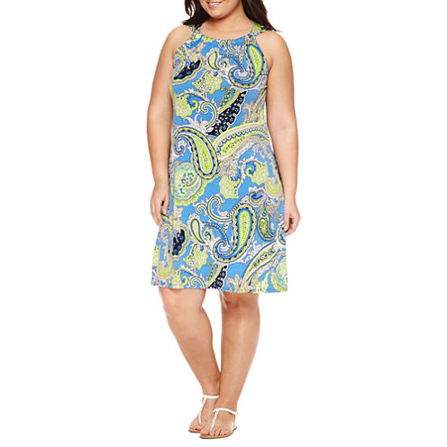 MSK Sleeveless Paisley Shift Dress-Plus
