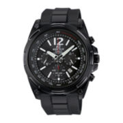 Casio® Edifice Mens Black Dial Black Resin Strap Solar Chronograph Watch
