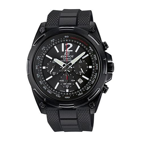Casio® Edifice Mens Black Dial Black Resin Strap Solar Watch EFR545SBPB-1B