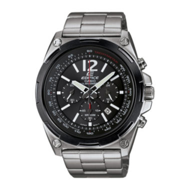 jcpenney.com | Casio® Edifice Mens Black Dial Black Stainless Steel Solar Watch EFR545SBDB-1B