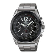 Casio® Edifice Mens Black Dial Black Stainless Steel Solar Chronograph Watch