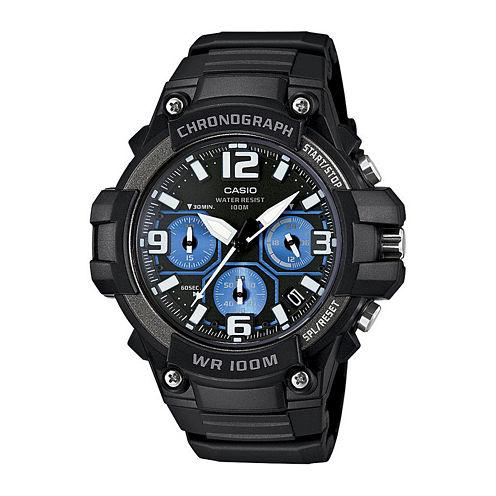 Casio® Mens Black Resin Strap Chronograph Watch MCW100-1A2V