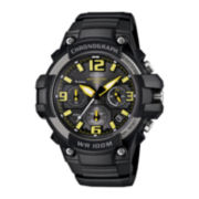 Casio® Mens Black Resin Strap Chronograph Watch