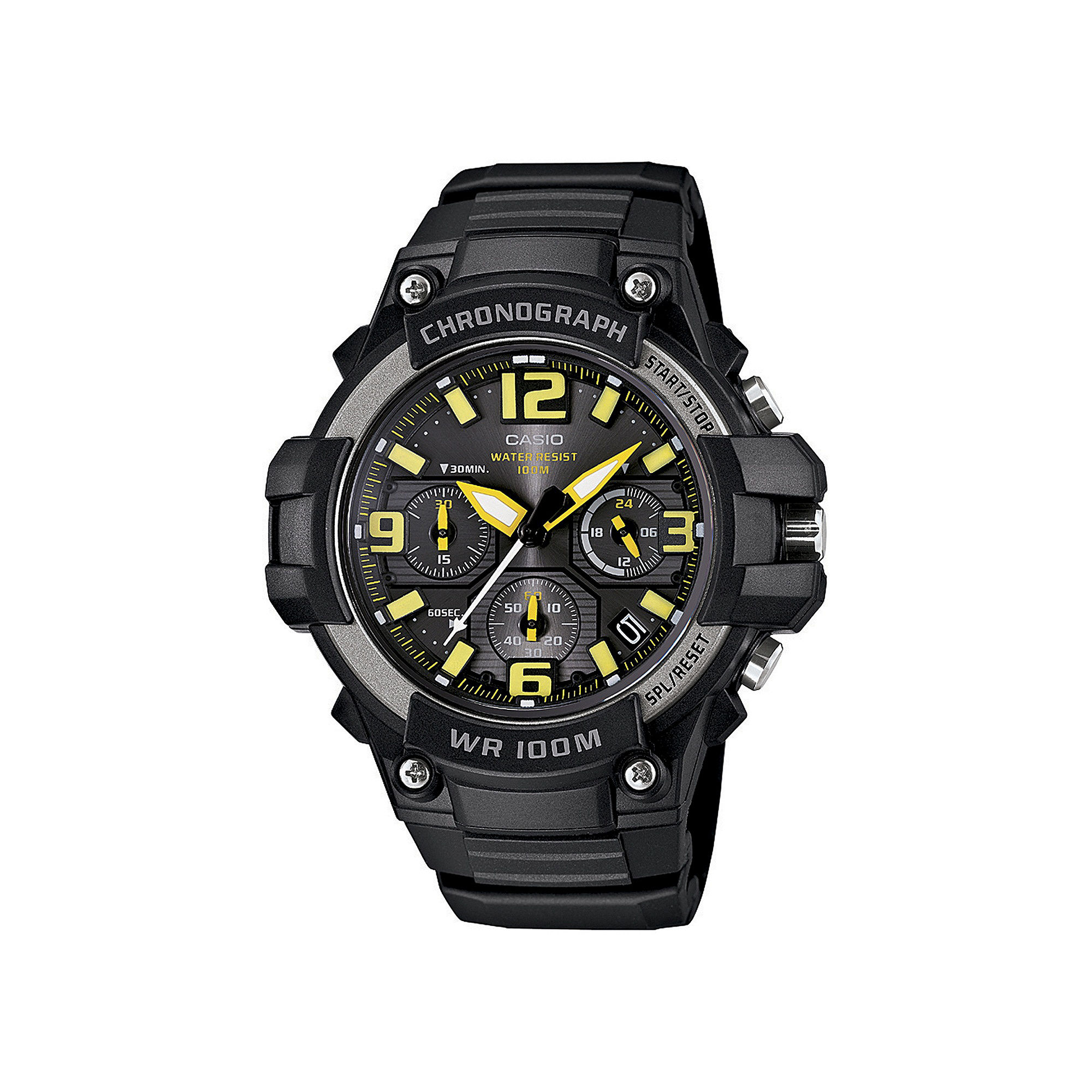 Casio Mens Black Resin Strap Chronograph Watch MCW100-9AV