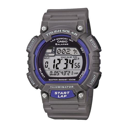 Casio® Mens Gray Resin Strap Solar Sport Watch STLS100H-8AV
