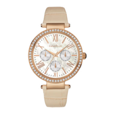 jcpenney.com | Caravelle New York® Womens Crystal-Accent Tan Leather Strap Watch 44N105