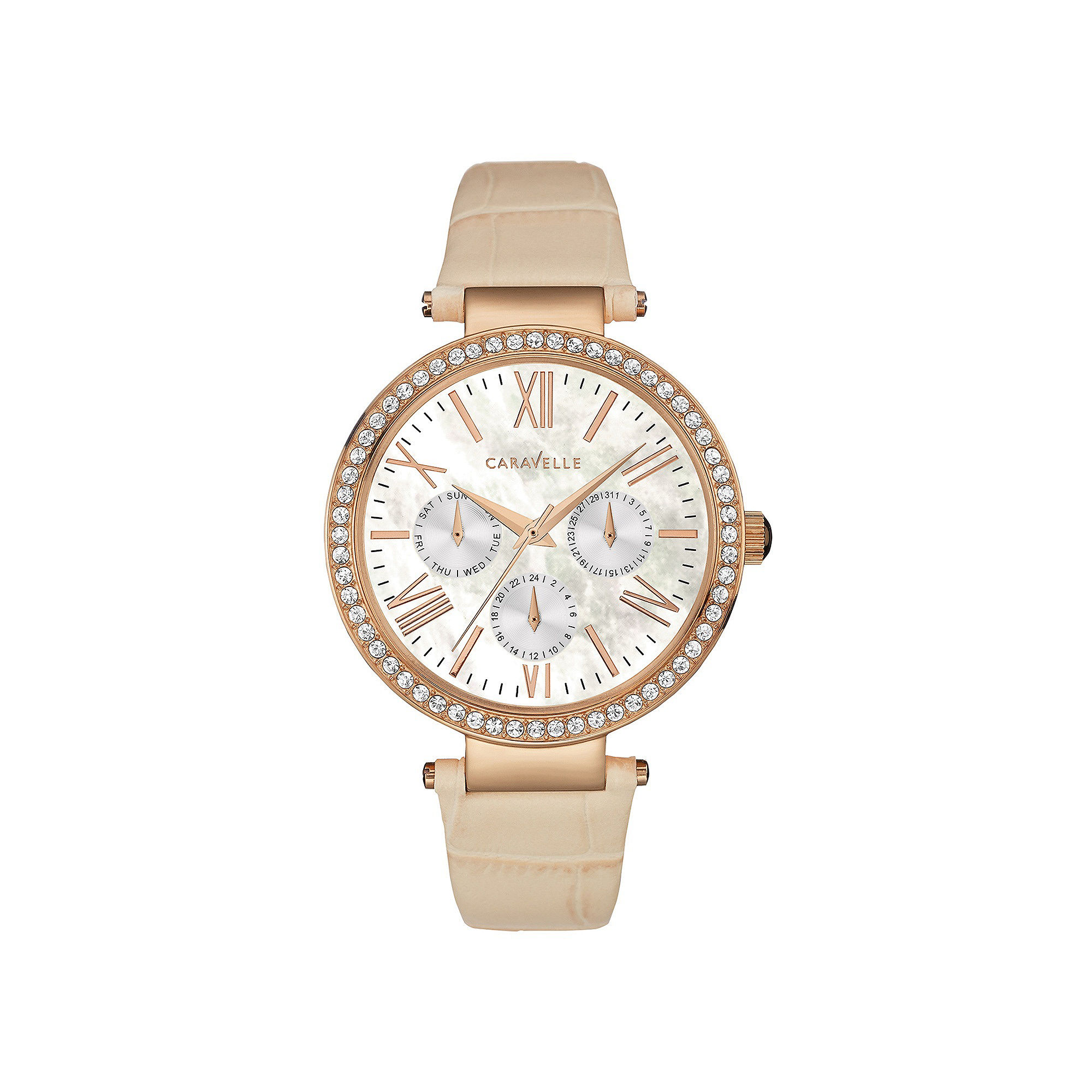 Caravelle New York Womens Crystal-Accent Tan Leather Strap Watch 44N105