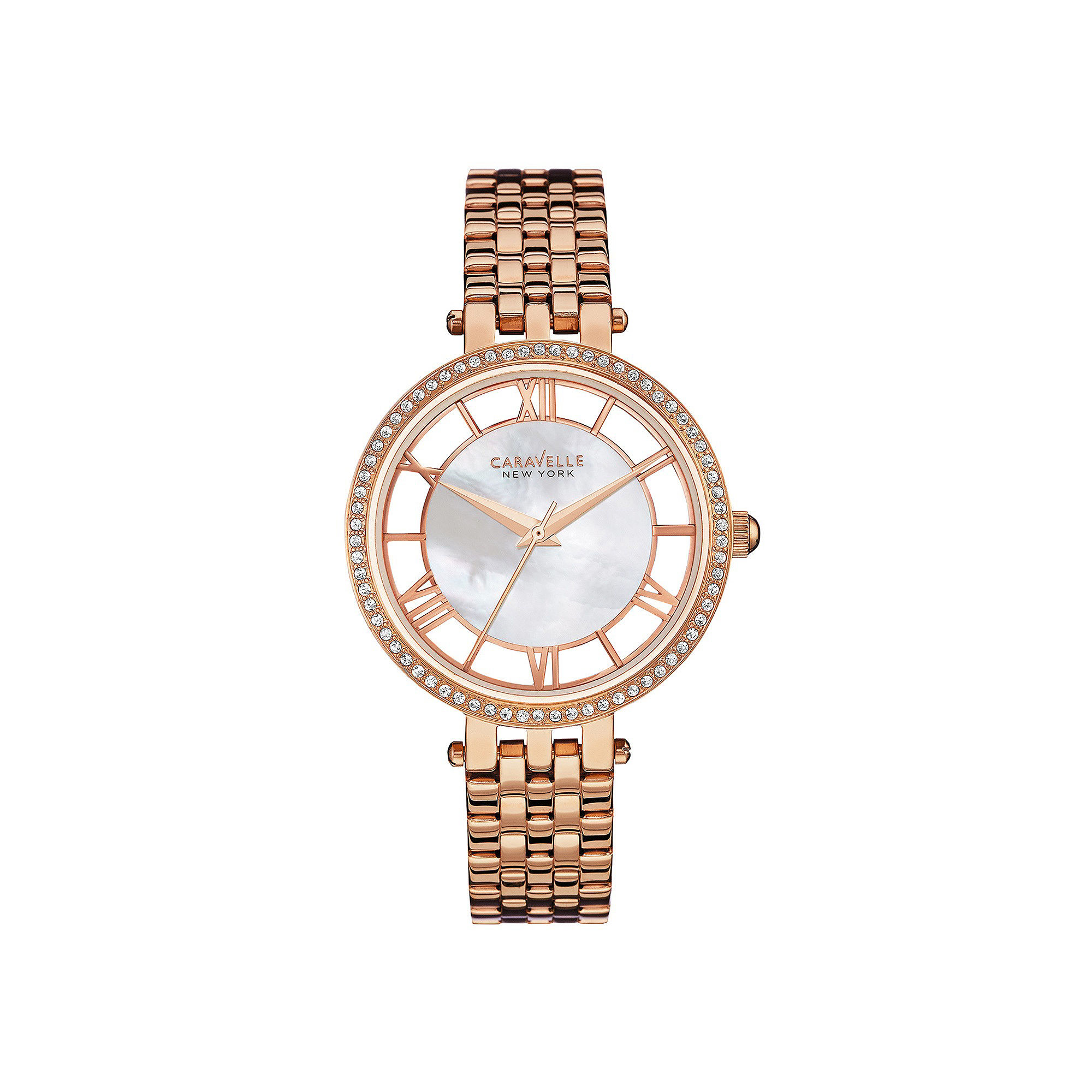 Caravelle New York Womens Crystal-Accent Rose-Tone Bracelet Watch 44L171