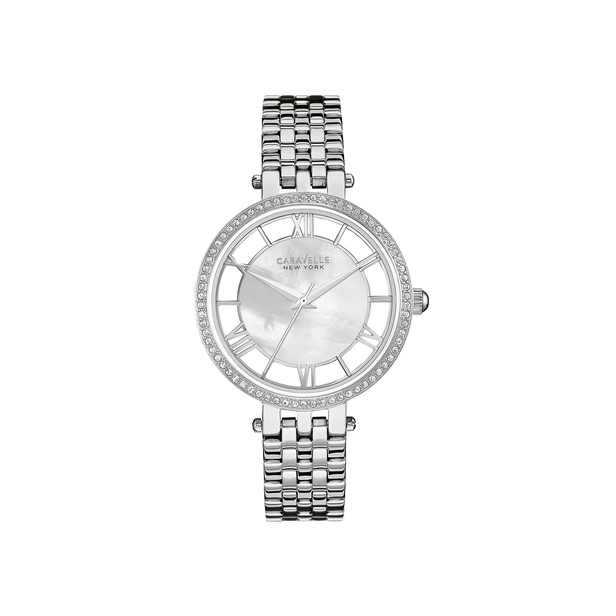 Caravelle New York Womens Crystal-Accent Stainless Steel Bracelet Watch 43L183